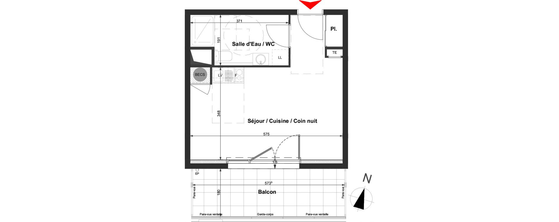 Appartement T1 de 30,03 m2 à La Roche-Sur-Yon La vigne aux roses