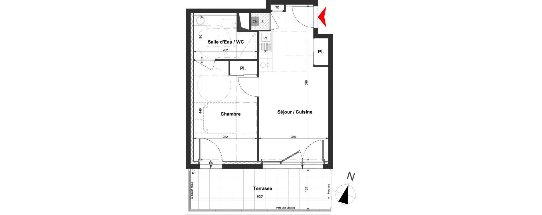 Appartement T2 de 37,68 m2 à La Roche-Sur-Yon La vigne aux roses