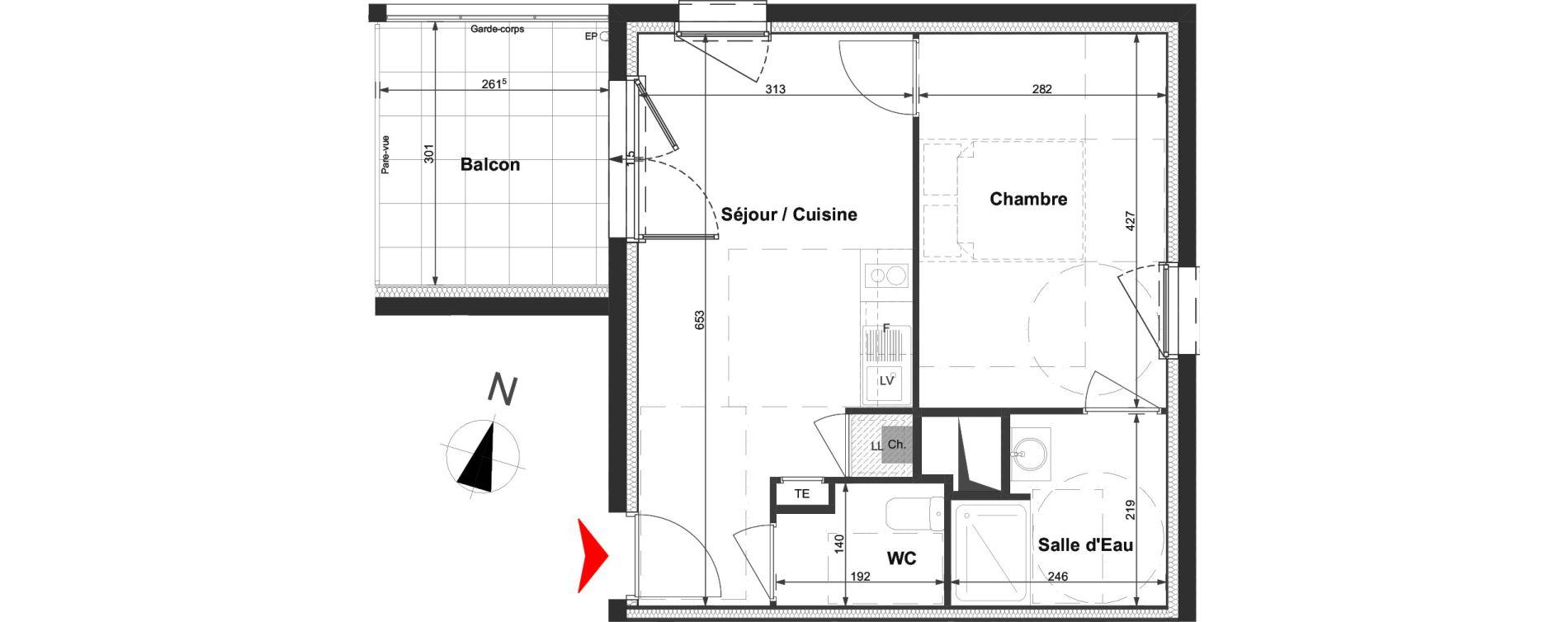 Appartement T2 de 37,18 m2 à La Roche-Sur-Yon La vigne aux roses
