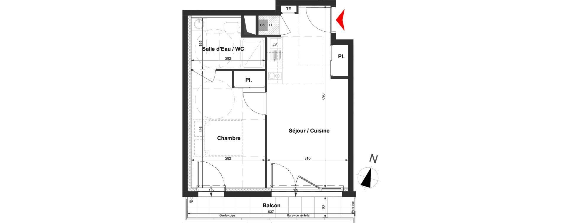 Appartement T2 de 37,66 m2 à La Roche-Sur-Yon La vigne aux roses