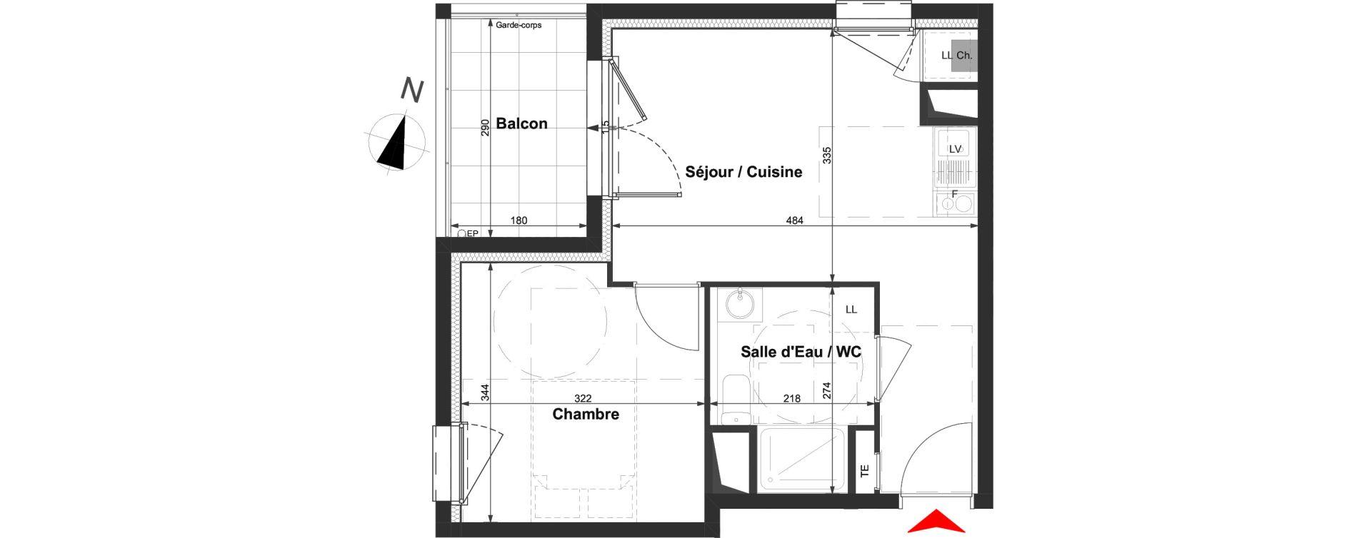 Appartement T2 de 35,17 m2 à La Roche-Sur-Yon La vigne aux roses