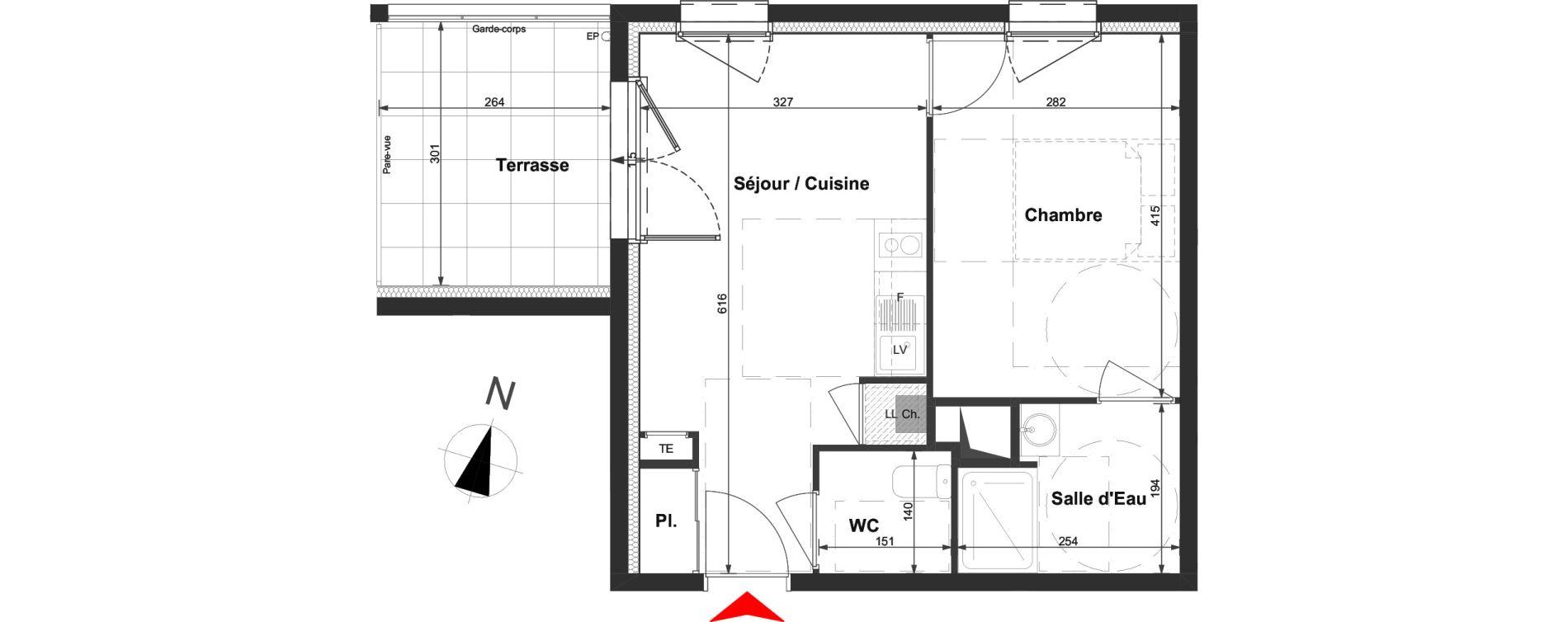 Appartement T2 de 36,11 m2 à La Roche-Sur-Yon La vigne aux roses