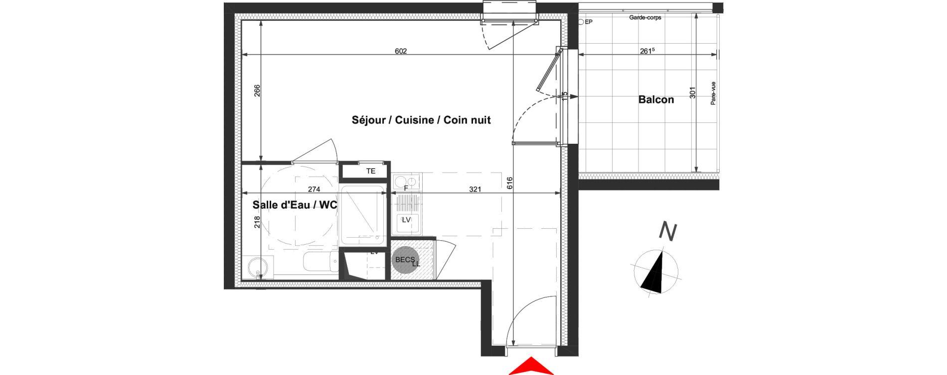 Appartement T1 de 29,89 m2 à La Roche-Sur-Yon La vigne aux roses