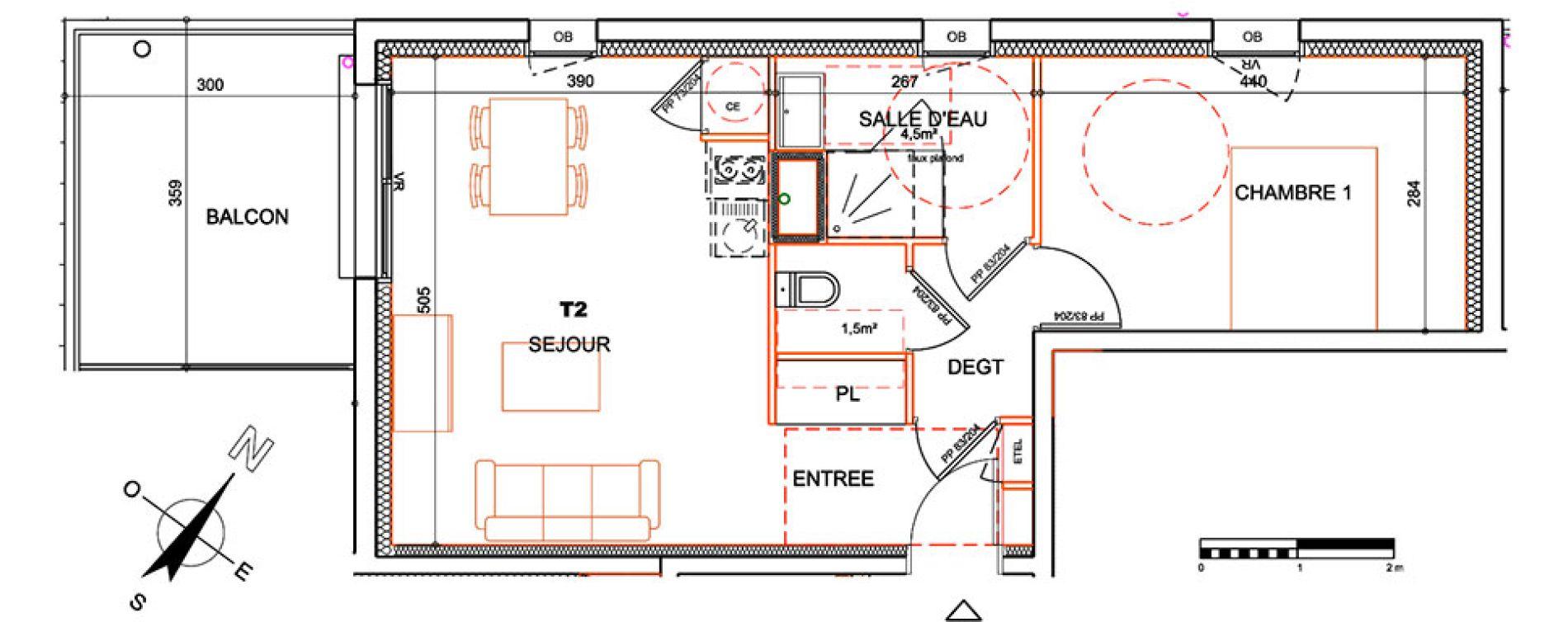 Plan T2 neuf à la Roche-sur-Yon de