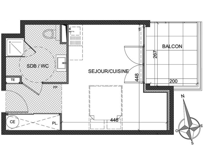 Plan Studio neuf à Antibes de
