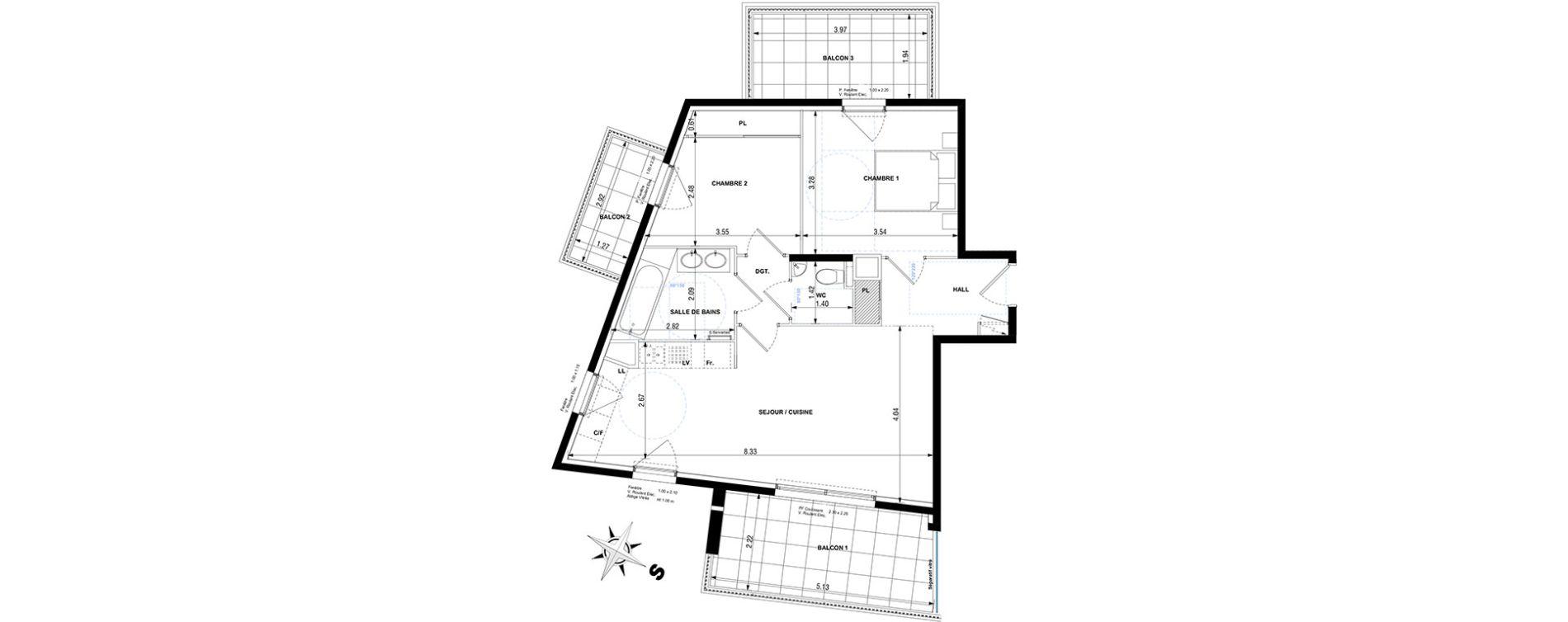 Appartement T3 de 61,50 m2 à Cagnes-Sur-Mer Centre