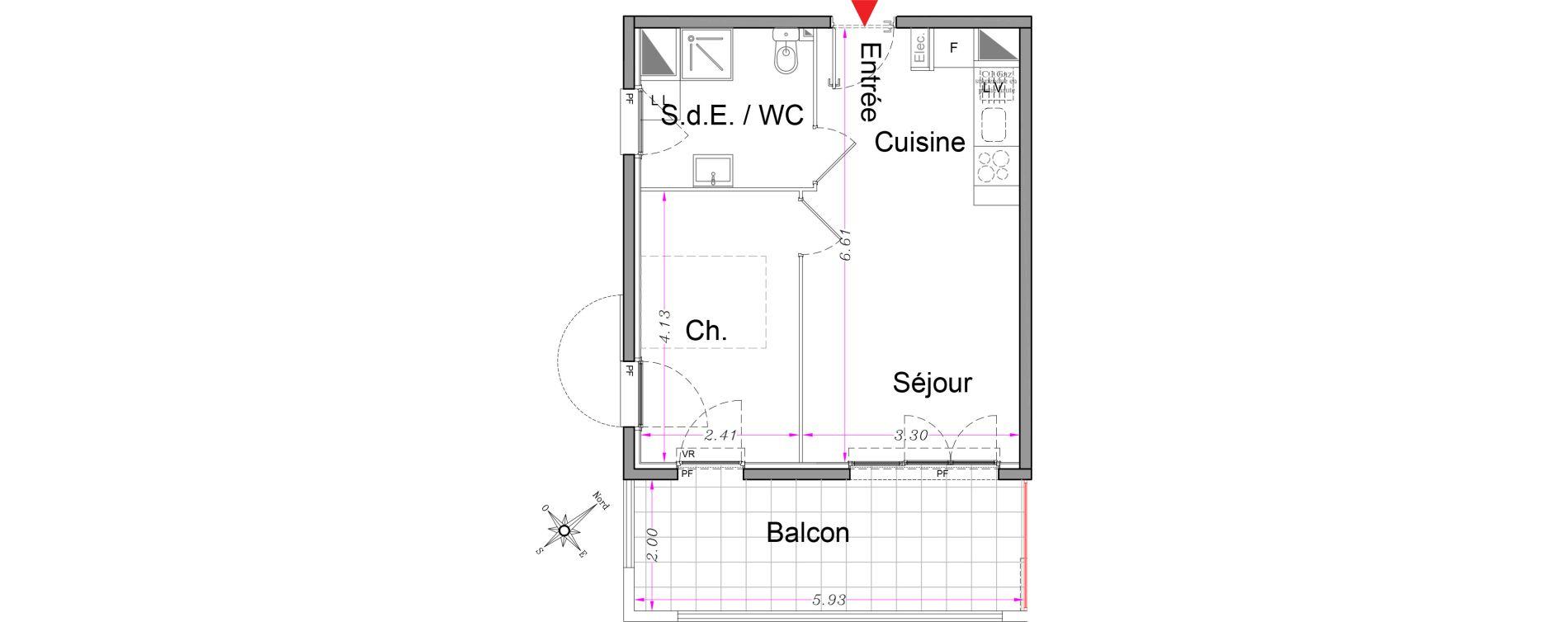 Appartement T2 de 36,55 m2 à Carros Centre