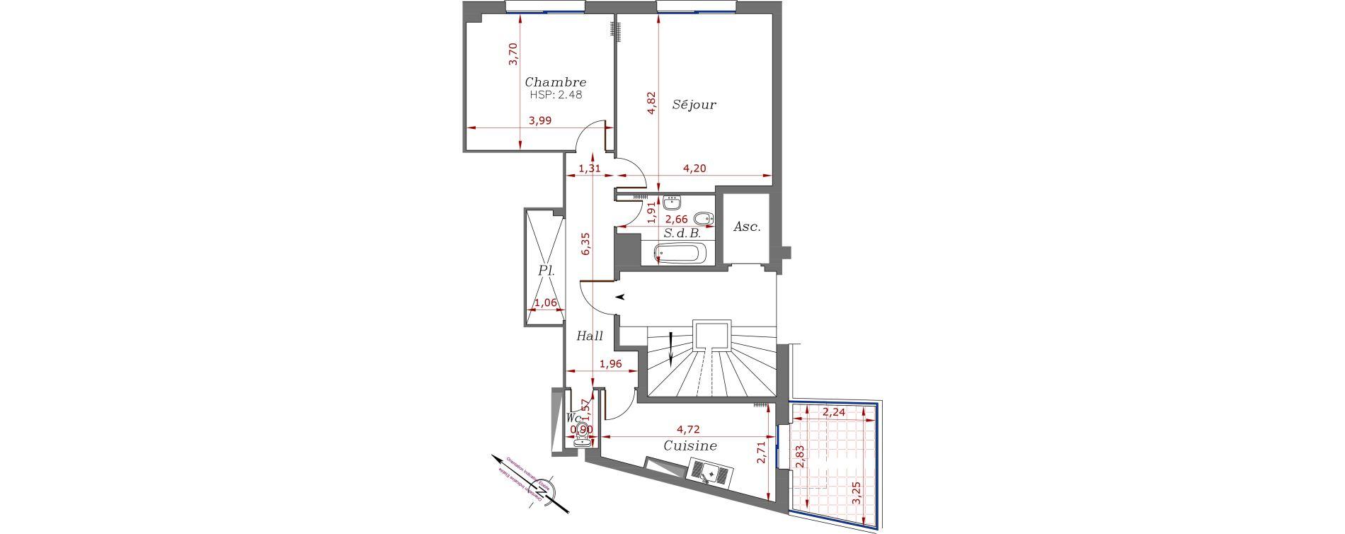 Appartement T2 de 62,10 m2 à Menton Centre