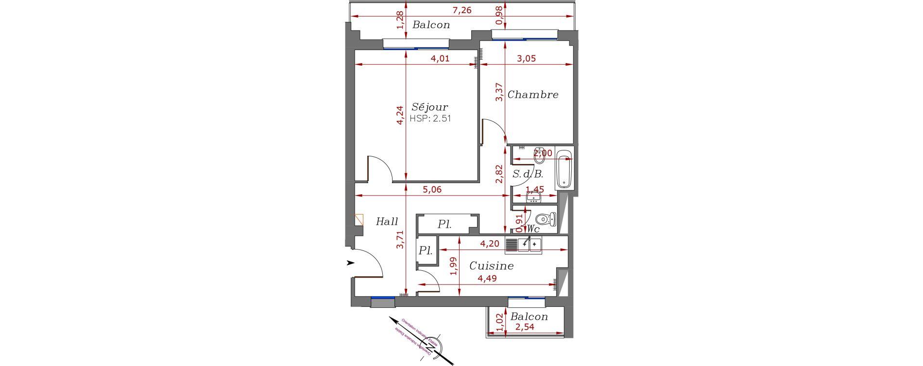 Appartement T2 de 54,30 m2 à Menton Centre