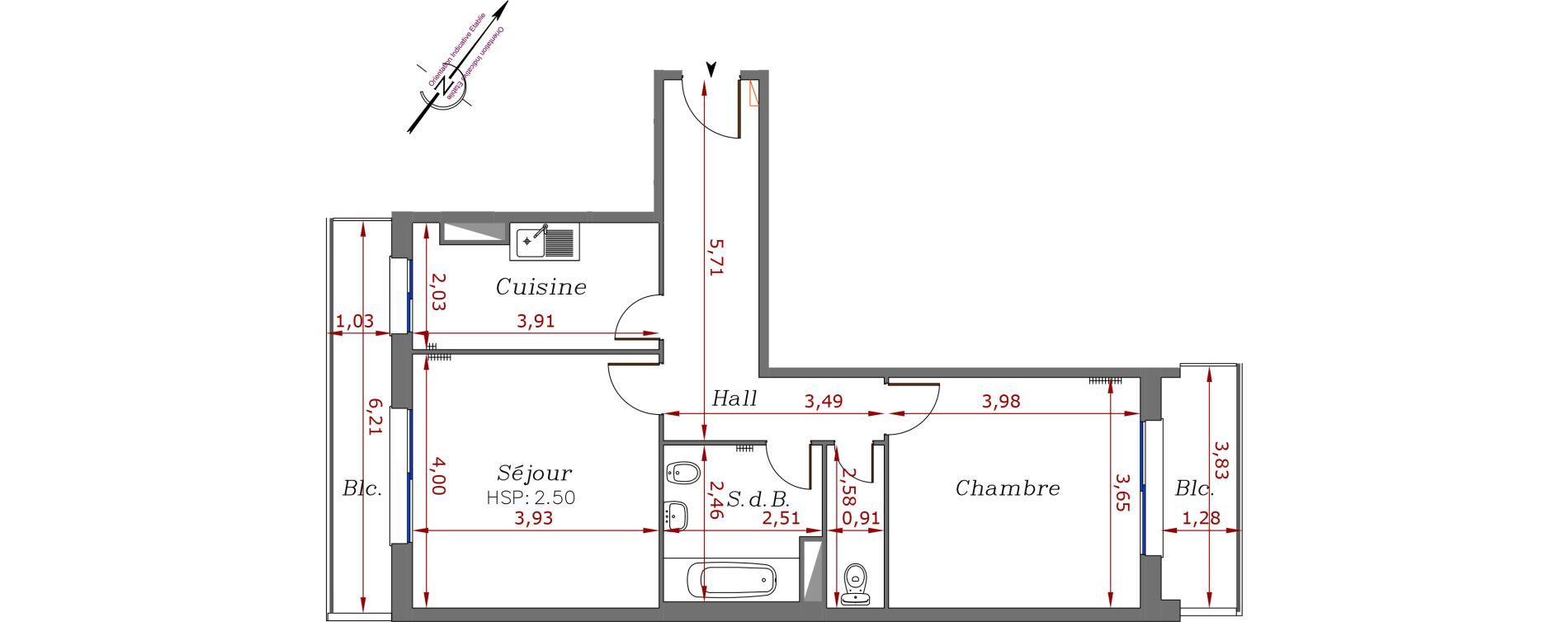Appartement T2 de 56,50 m2 à Menton Centre