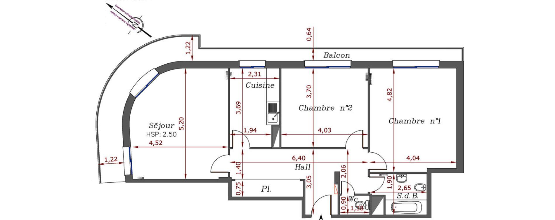 Appartement T3 de 84,20 m2 à Menton Centre