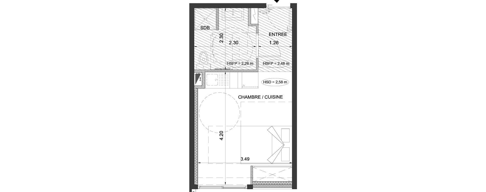 Appartement T1 de 22,50 m2 à Menton Centre