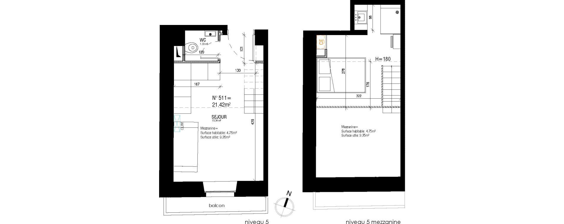 Appartement T2 de 21,42 m2 à Nice Jean medecin