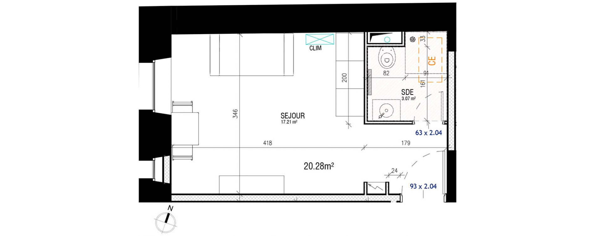 plan appartement 28m2