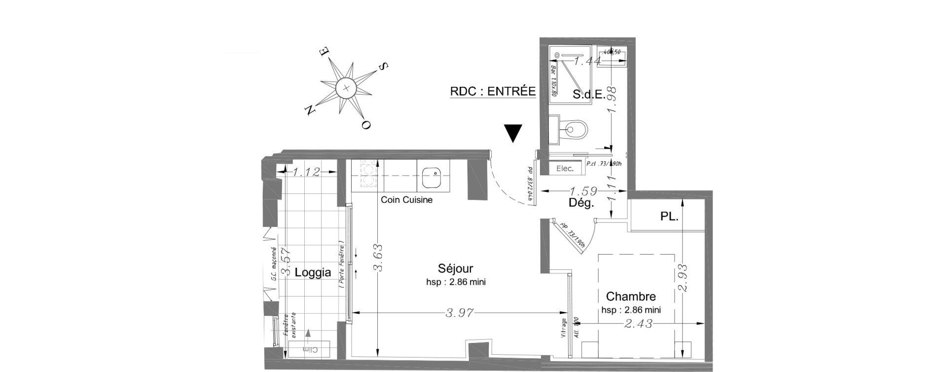 Appartement T2 de 24,10 m2 à Nice Carabacel
