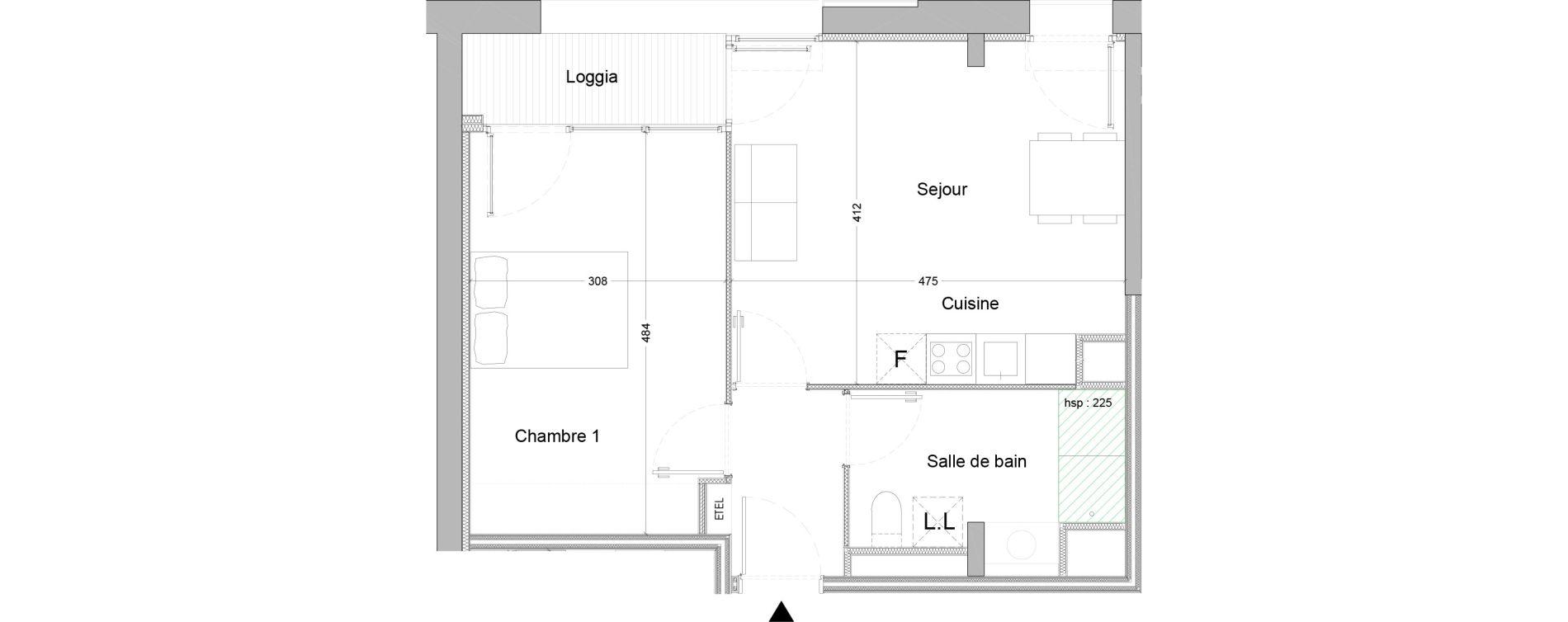 Appartement T2 de 43,37 m2 à Nice Saint augustin