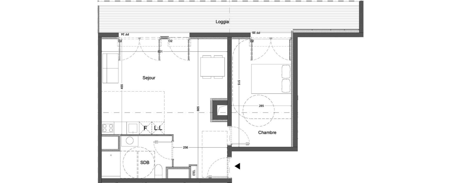 Appartement T2 de 51,85 m2 à Nice Saint augustin