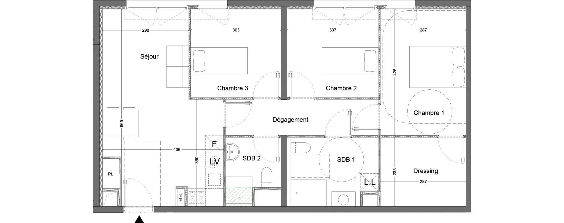 Appartement T4 de 76,53 m2 à Nice Saint augustin