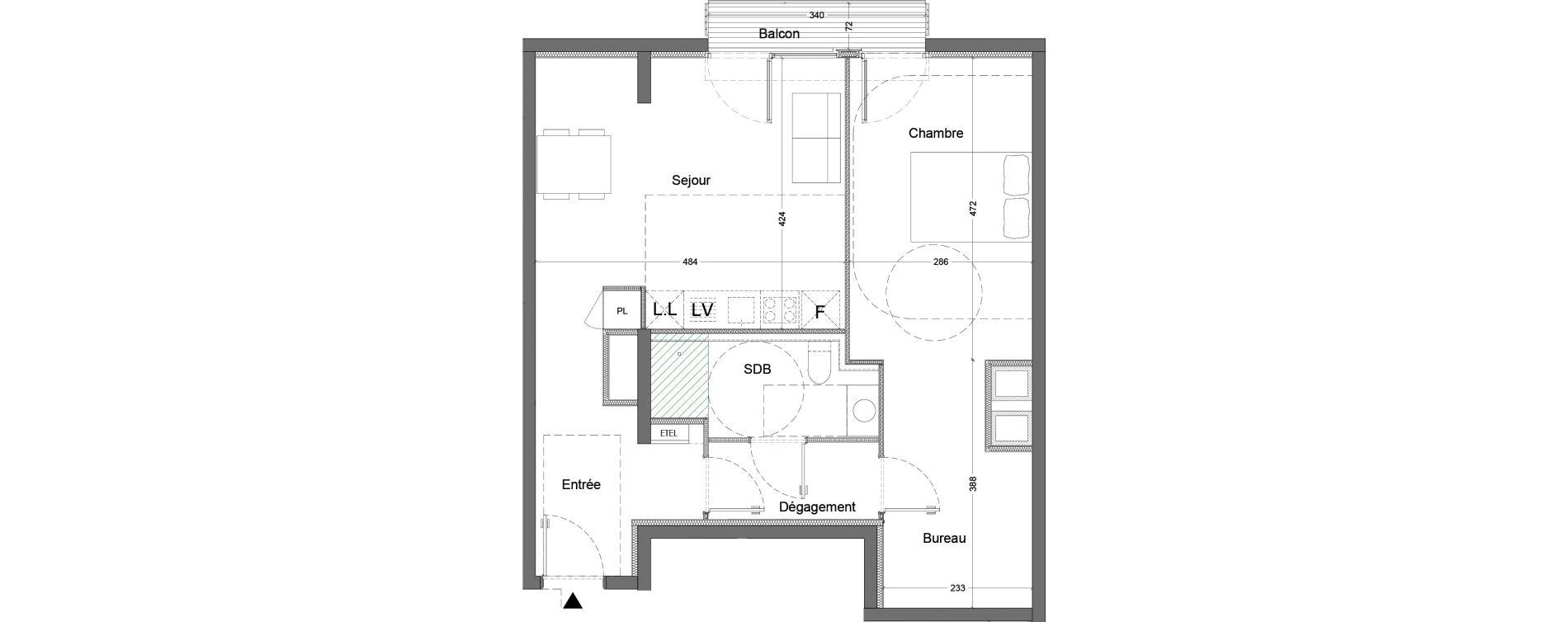 Appartement T2 de 56,96 m2 à Nice Saint augustin