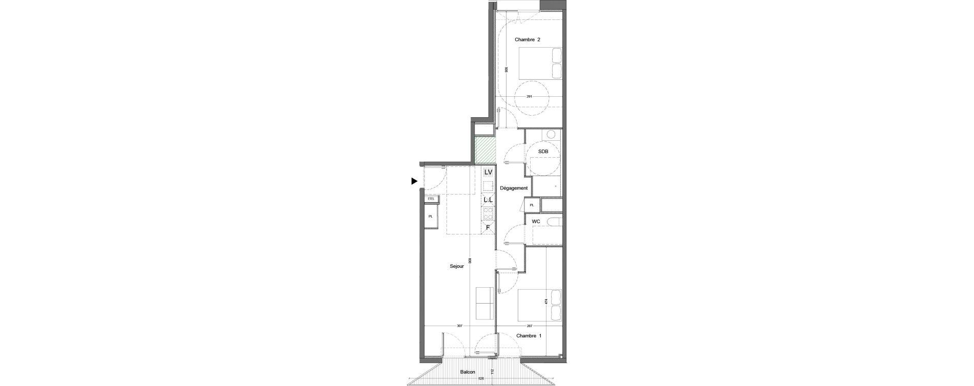 Appartement T3 de 67,88 m2 à Nice Saint augustin