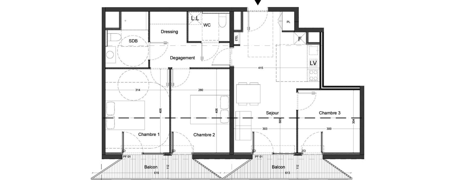 Appartement T4 de 71,09 m2 à Nice Saint augustin