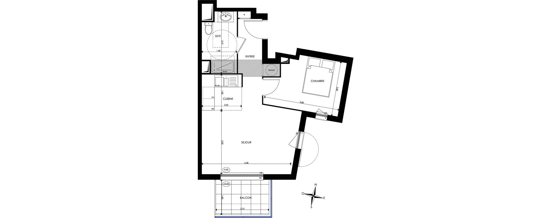 Appartement T2 de 41,60 m2 à Nice Saint sylvestre