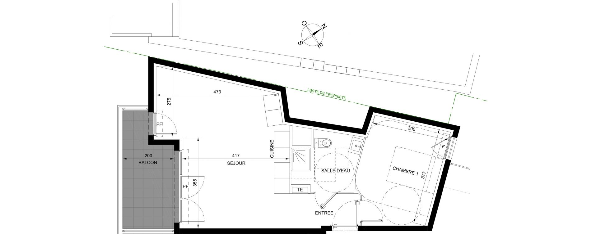 Appartement T2 de 46,25 m2 à Roquebrune-Cap-Martin Centre