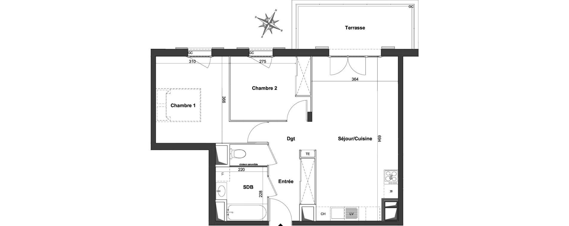 Appartement T3 de 59,42 m2 à Roquefort-Les-Pins Centre