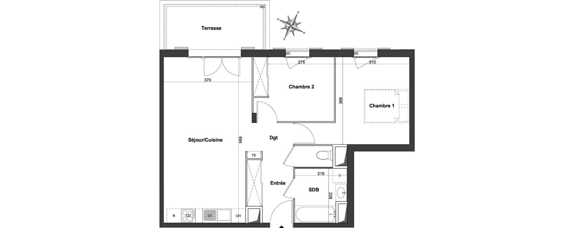 Appartement T3 de 60,22 m2 à Roquefort-Les-Pins Centre