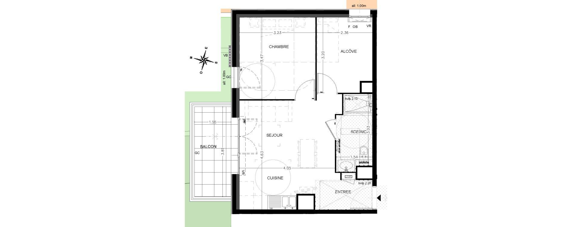 Appartement T2 de 43,80 m2 à Saint-Étienne-De-Tinée Centre