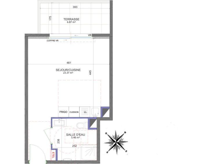 Plan Studio neuf à Saint-Laurent-du-Var de
