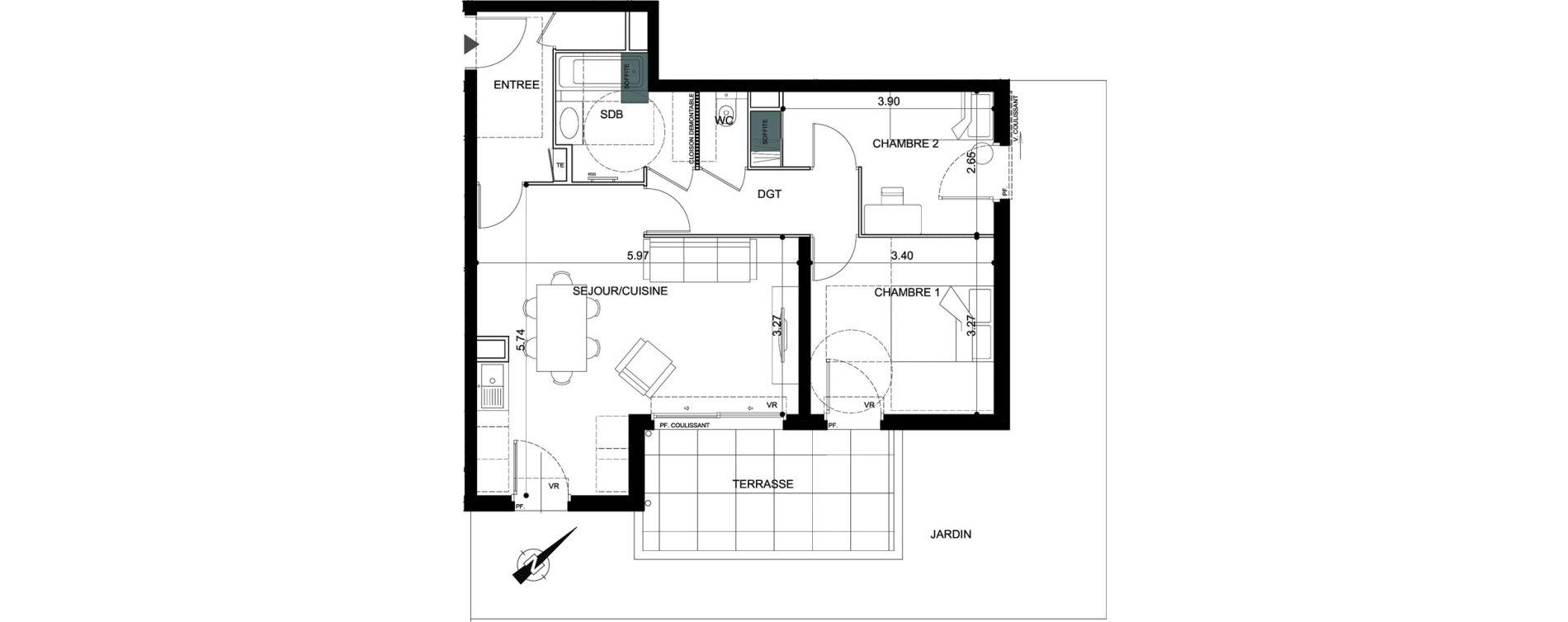 Appartement T3 de 63,15 m2 à Vallauris Centre