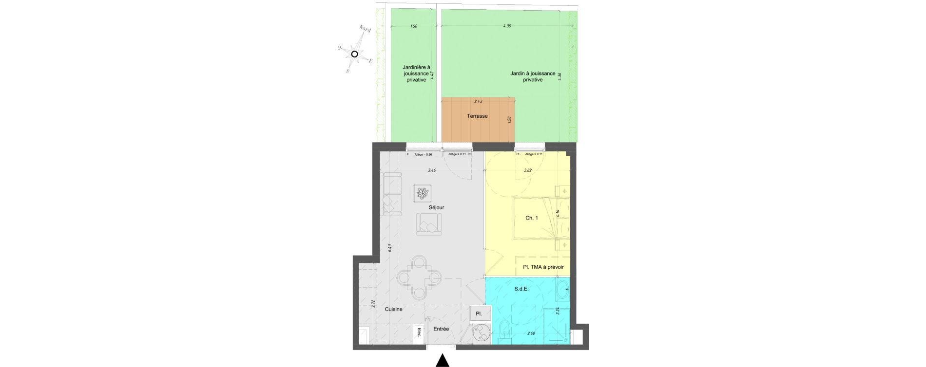 Appartement T2 de 41,60 m2 à Vence Centre