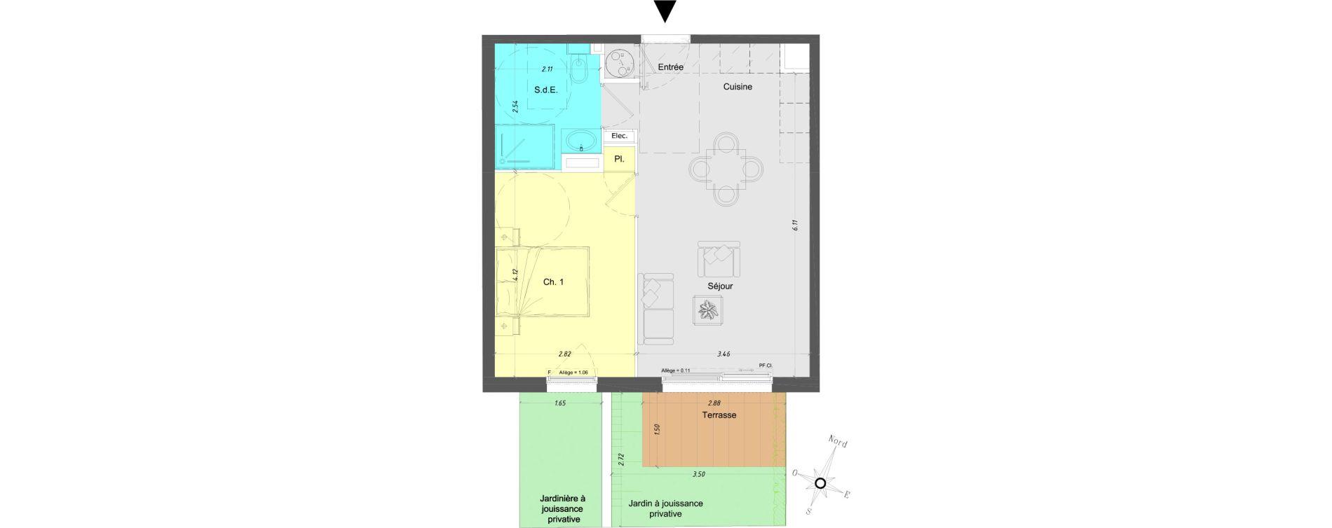 Appartement T2 de 41,05 m2 à Vence Centre