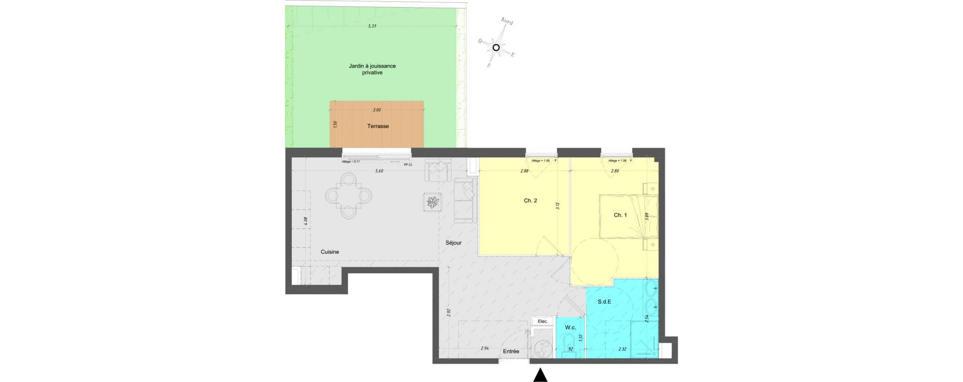 Appartement T3 de 61,05 m2 à Vence Centre