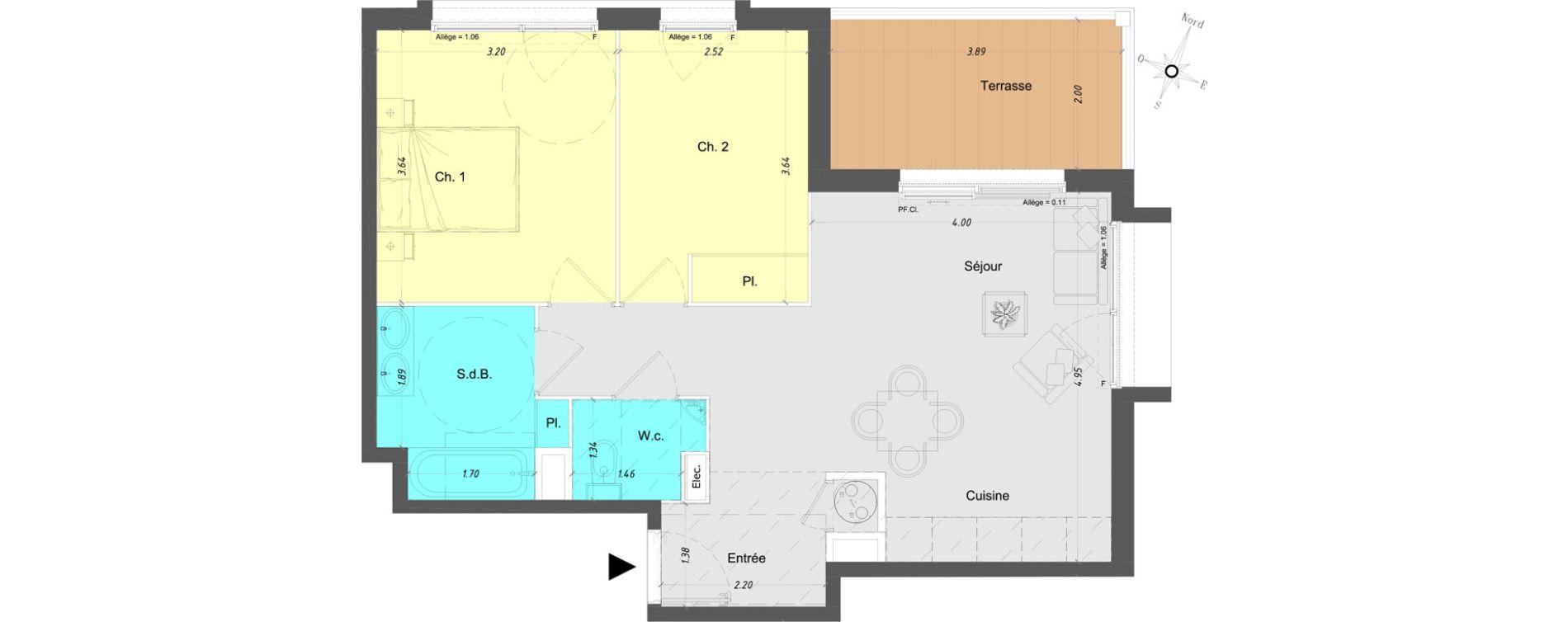 Appartement T3 de 57,25 m2 à Vence Centre
