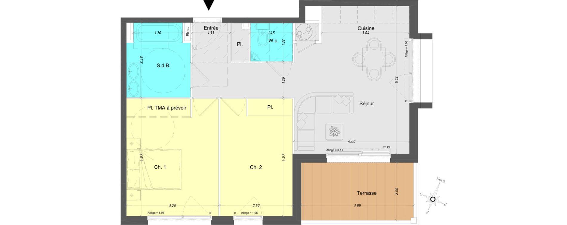 Appartement T3 de 57,50 m2 à Vence Centre