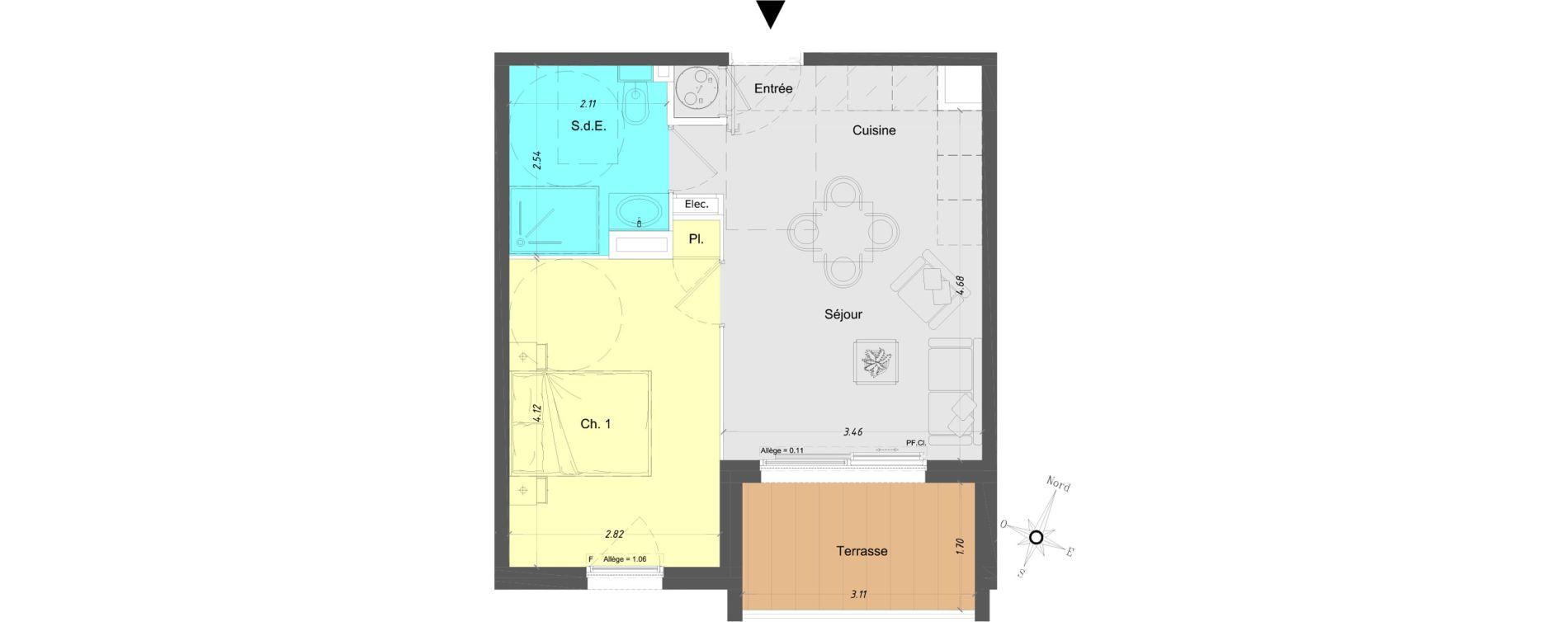 Appartement T2 de 36,15 m2 à Vence Centre