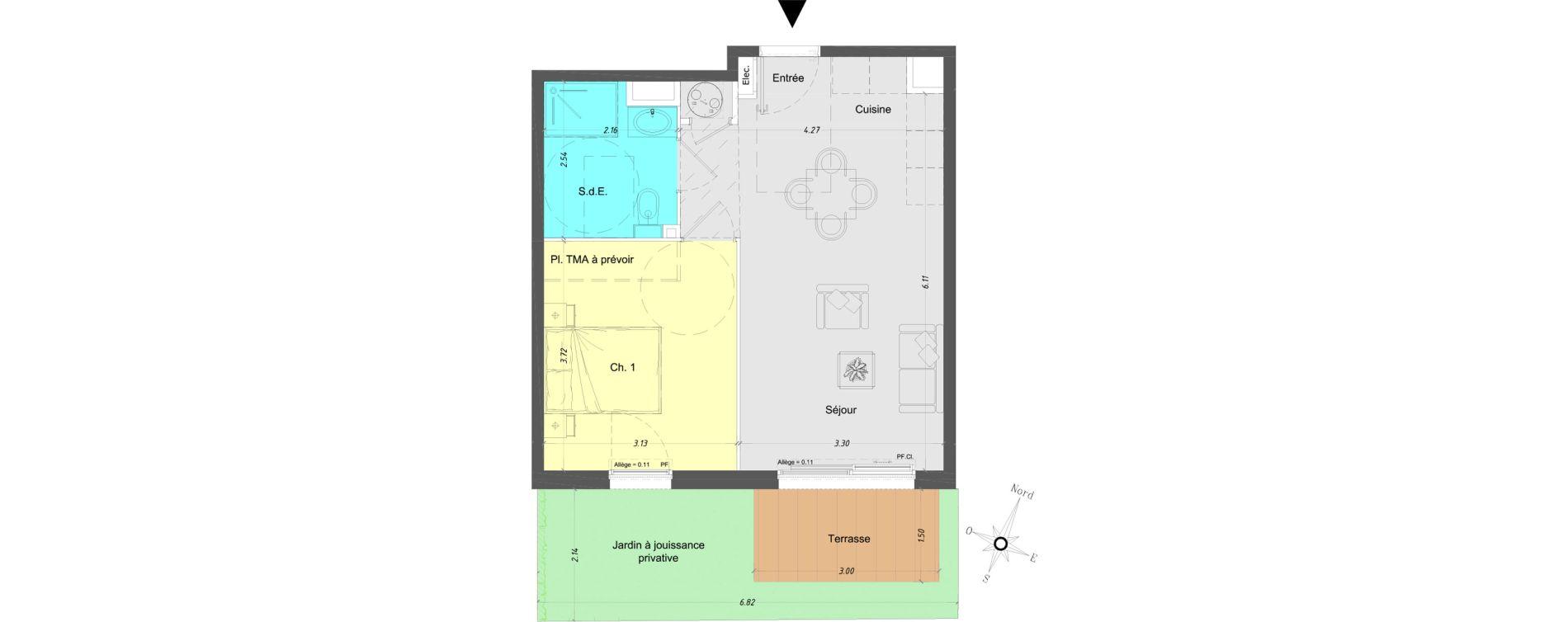 Appartement T2 de 40,80 m2 à Vence Centre
