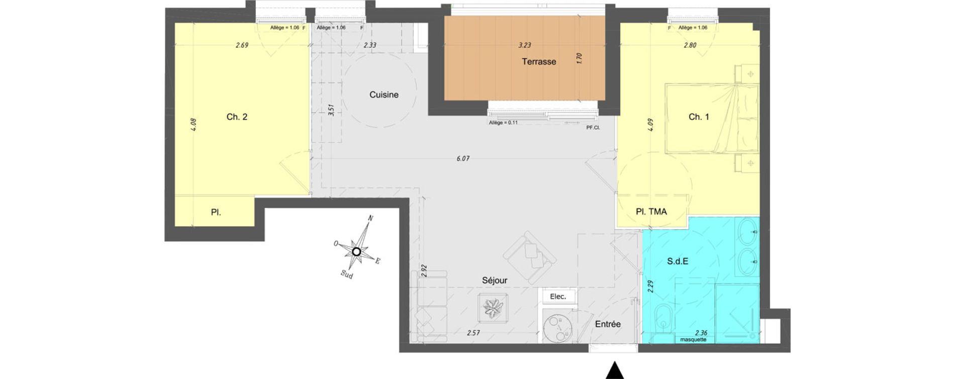 Appartement T3 de 54,35 m2 à Vence Centre