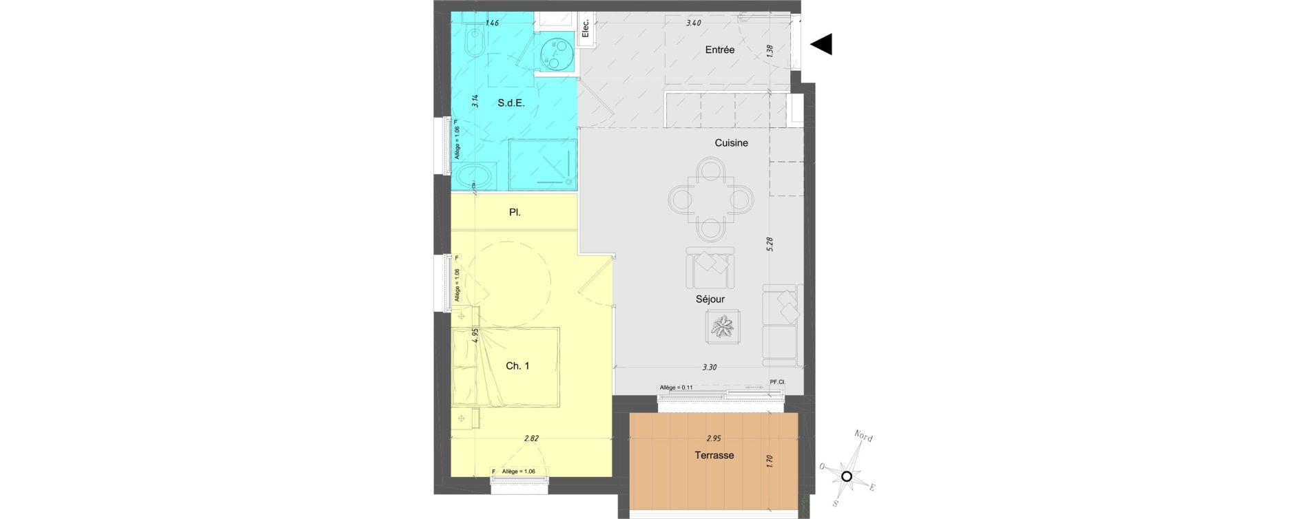 Appartement T2 de 43,80 m2 à Vence Centre