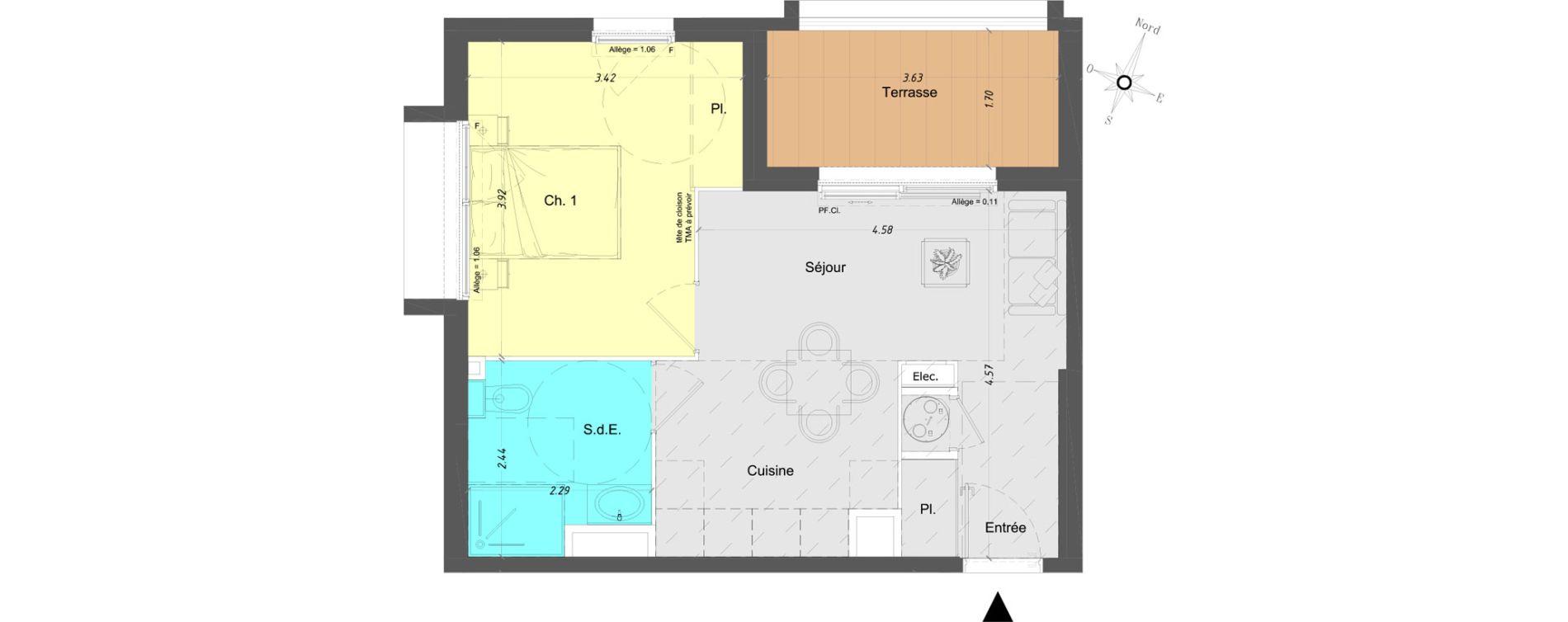 Appartement T2 de 38,40 m2 à Vence Centre