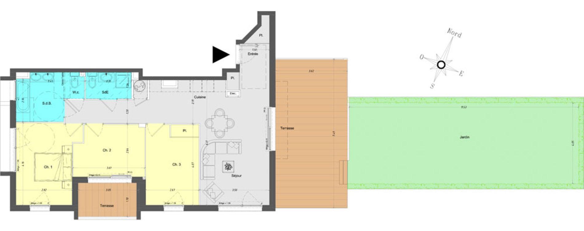 Appartement T4 de 79,20 m2 à Vence Centre