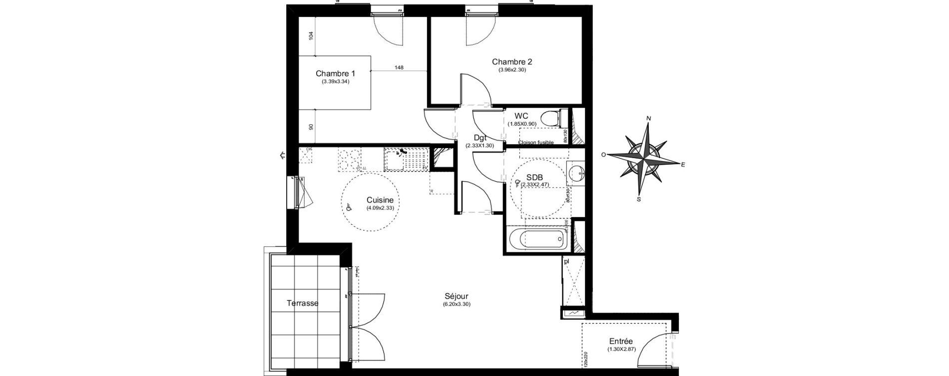 Appartement T3 de 64,61 m2 à Aix-En-Provence Puyricard - couteron