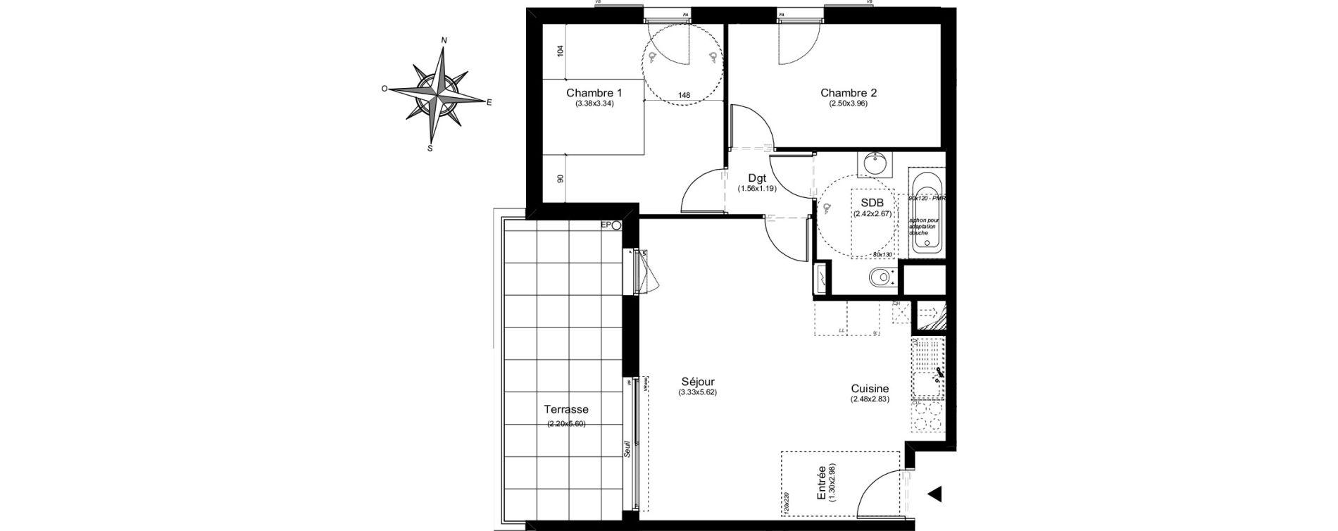 Appartement T3 de 55,35 m2 à Aix-En-Provence Puyricard - couteron