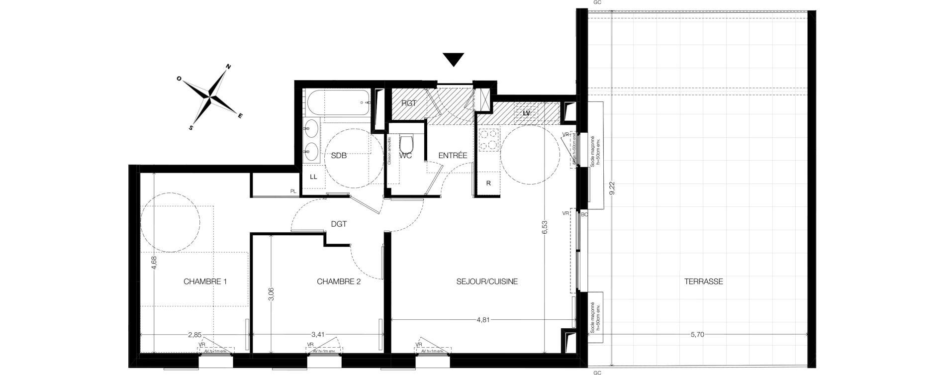 Appartement T3 de 64,98 m2 à Aix-En-Provence Pont de l'arc