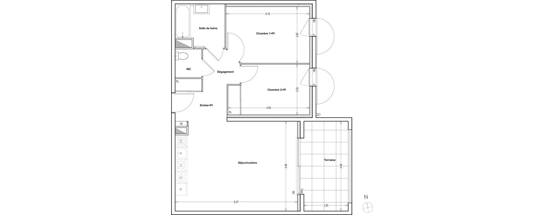 Appartement T3 de 62,64 m2 à Auriol Centre