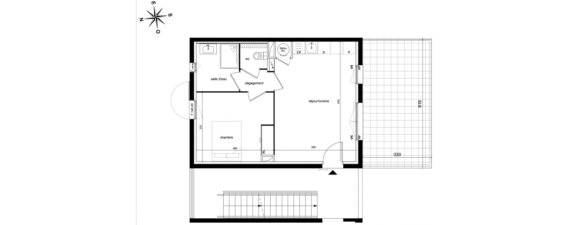 Appartement T2 de 42,00 m2 à Châteauneuf-Le-Rouge Centre