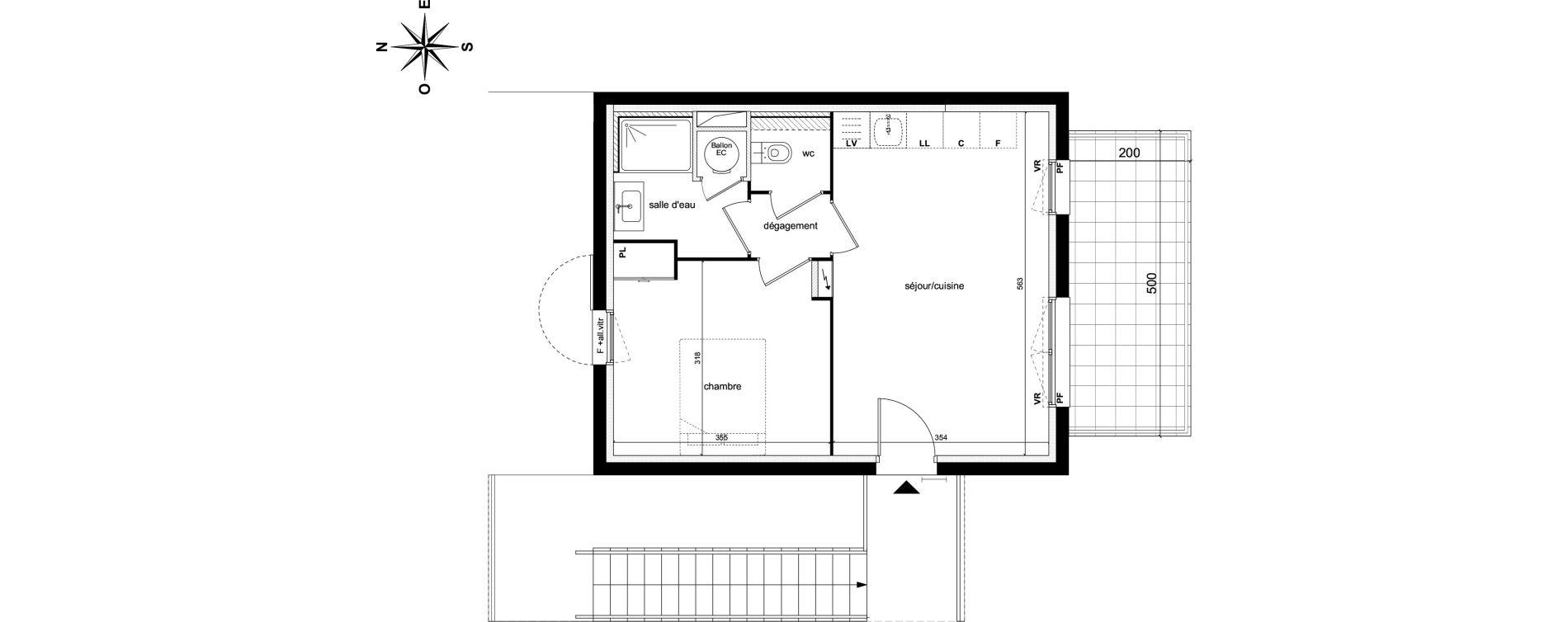Appartement T2 de 38,45 m2 à Châteauneuf-Le-Rouge Centre