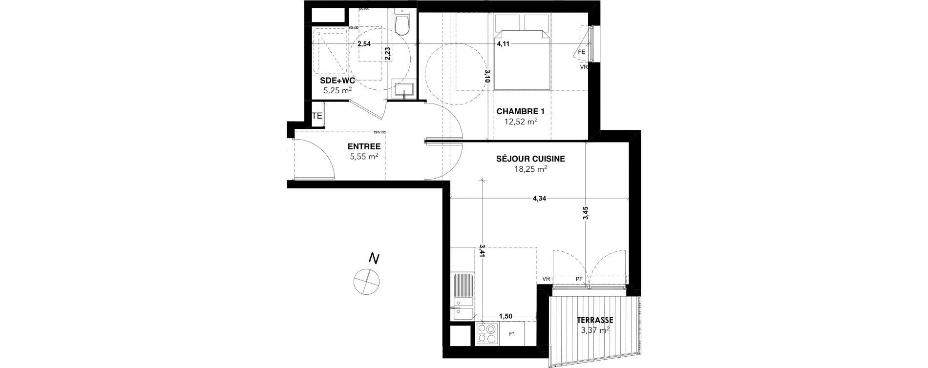 Appartement T2 de 41,57 m2 à Marseille La rose (13eme)